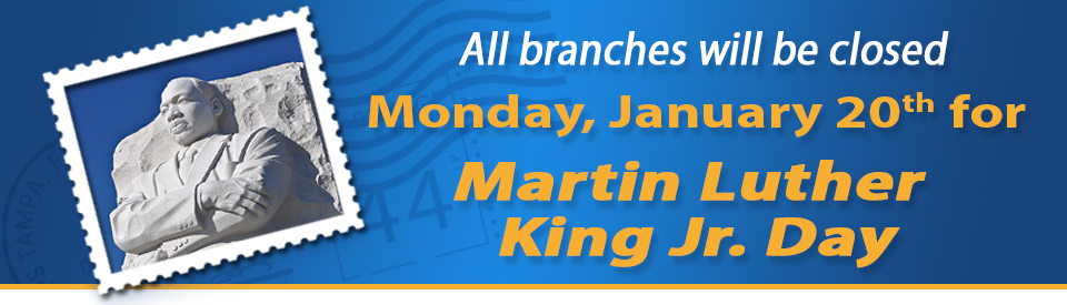 Our offices will be closed on Monday, January 20th, 2019 in observance of Martin Luther King Jr. Day